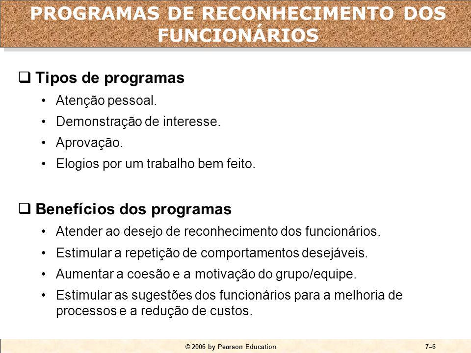 © 2006 by Pearson Education7–6  Tipos de programas •Atenção pessoal.