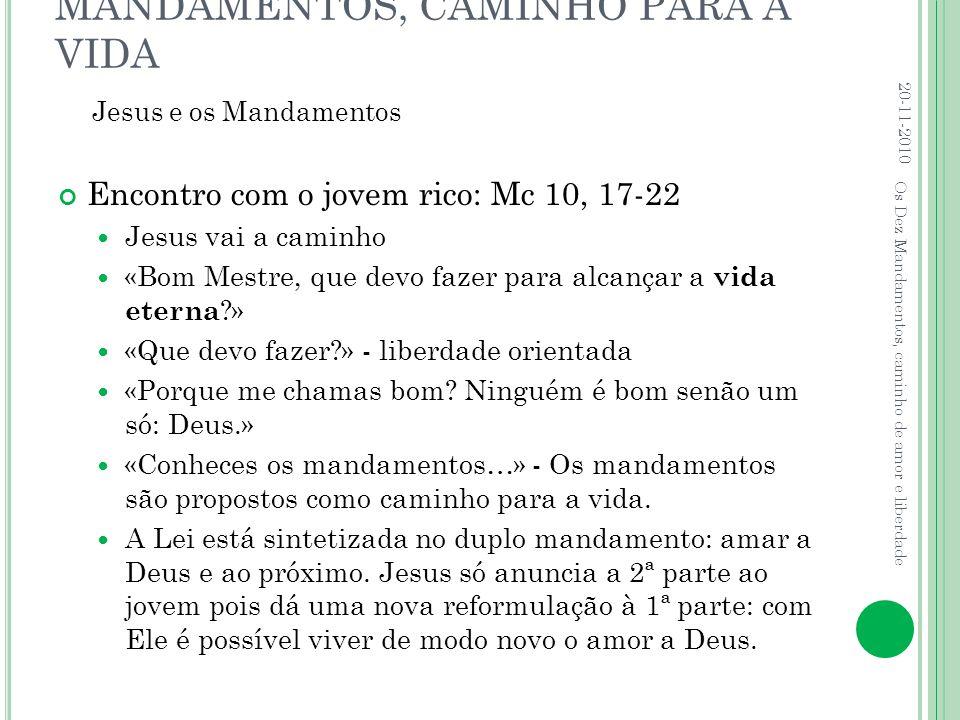 MANDAMENTOS, CAMINHO PARA A VIDA Encontro com o jovem rico: Mc 10, 17-22  Jesus vai a caminho  «Bom Mestre, que devo fazer para alcançar a vida eter