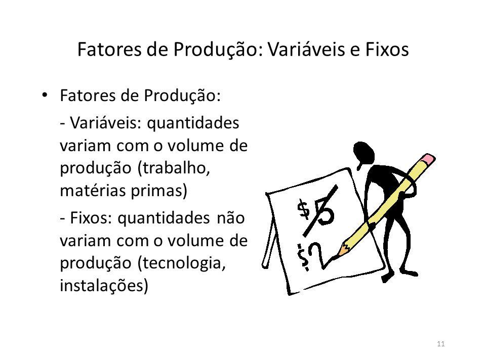 11 Fatores de Produção: Variáveis e Fixos • Fatores de Produção: - Variáveis: quantidades variam com o volume de produção (trabalho, matérias primas)