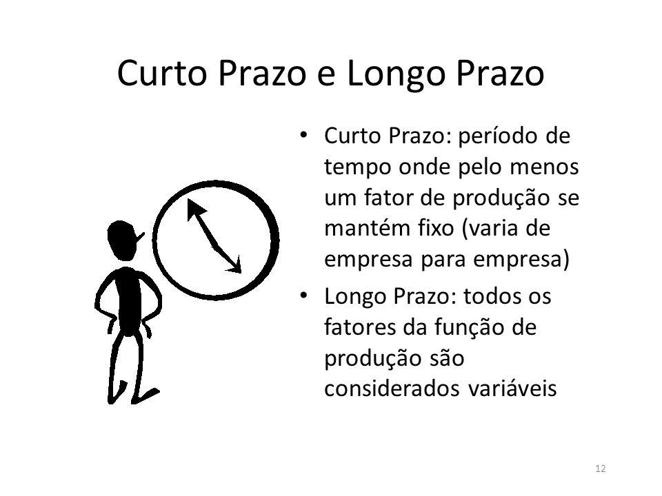 12 Curto Prazo e Longo Prazo • Curto Prazo: período de tempo onde pelo menos um fator de produção se mantém fixo (varia de empresa para empresa) • Lon