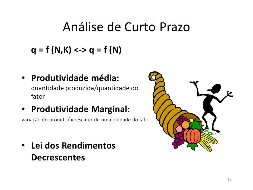 13 Análise de Curto Prazo q = f (N,K) q = f (N) • Produtividade média: quantidade produzida/quantidade do fator • Produtividade Marginal: variação do