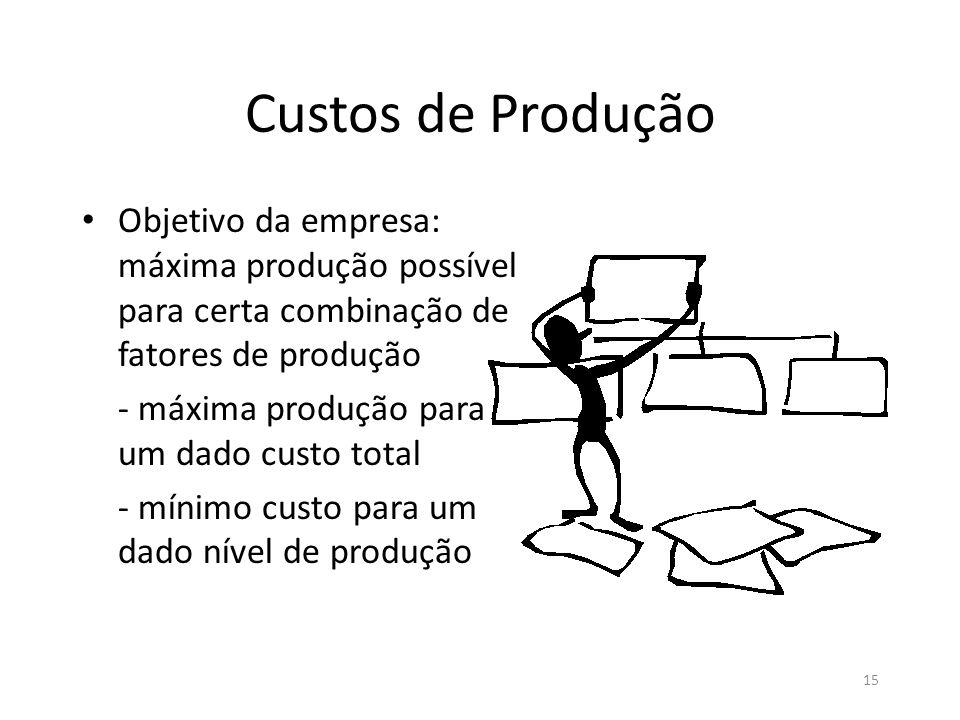 15 Custos de Produção • Objetivo da empresa: máxima produção possível para certa combinação de fatores de produção - máxima produção para um dado cust