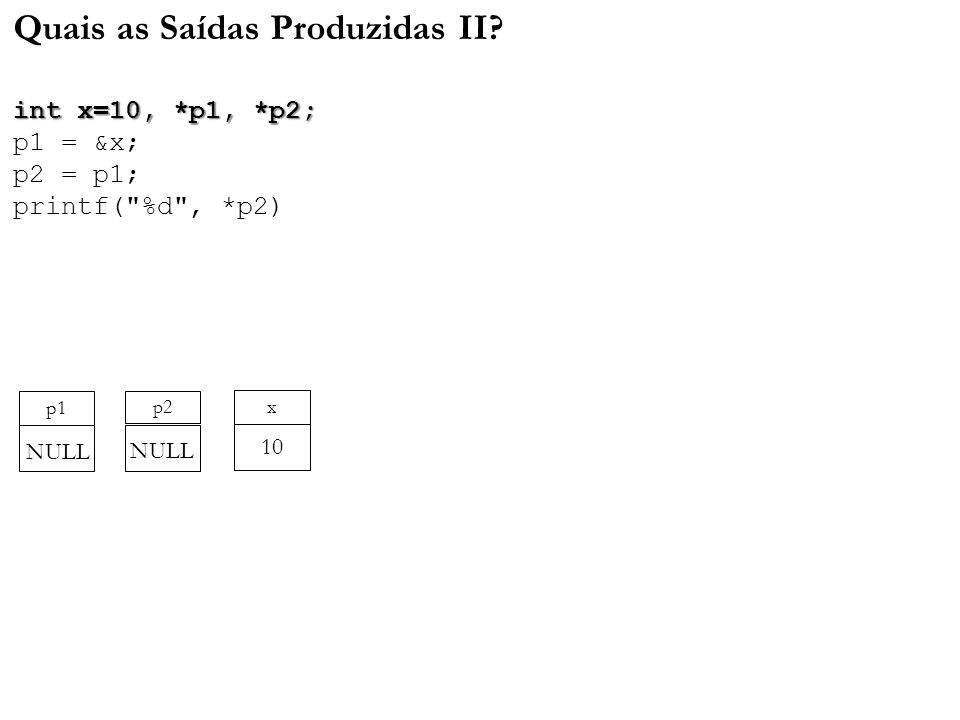 int x=10, *p1, *p2; Quais as Saídas Produzidas II? int x=10, *p1, *p2; p1 = &x; p2 = p1; printf(