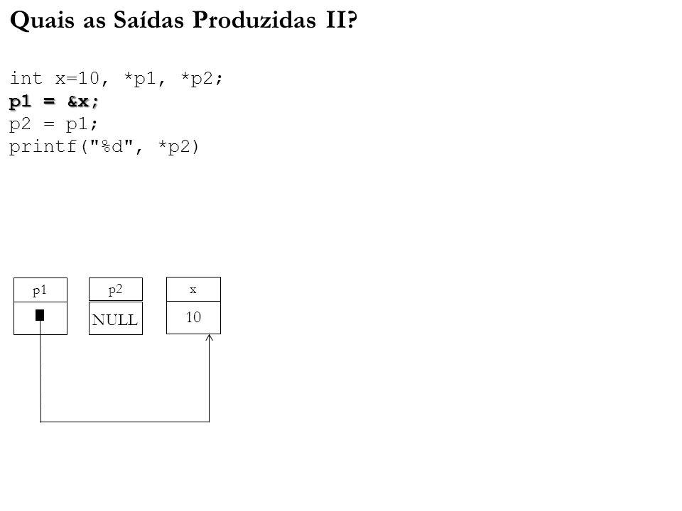 p1 = &x; Quais as Saídas Produzidas II? int x=10, *p1, *p2; p1 = &x; p2 = p1; printf(