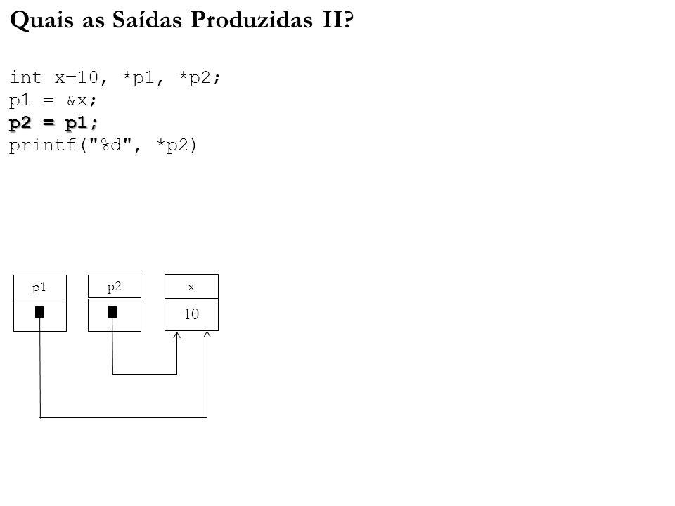 p2 = p1; Quais as Saídas Produzidas II? int x=10, *p1, *p2; p1 = &x; p2 = p1; printf(