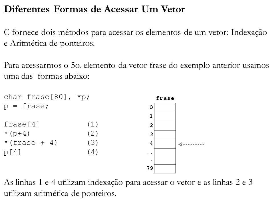 Diferentes Formas de Acessar Um Vetor C fornece dois métodos para acessar os elementos de um vetor: Indexação e Aritmética de ponteiros. Para acessarm