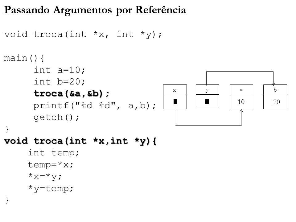 troca(&a,&b); void troca(int *x,int *y){ Passando Argumentos por Referência void troca(int *x, int *y); main(){ int a=10; int b=20; troca(&a,&b); prin