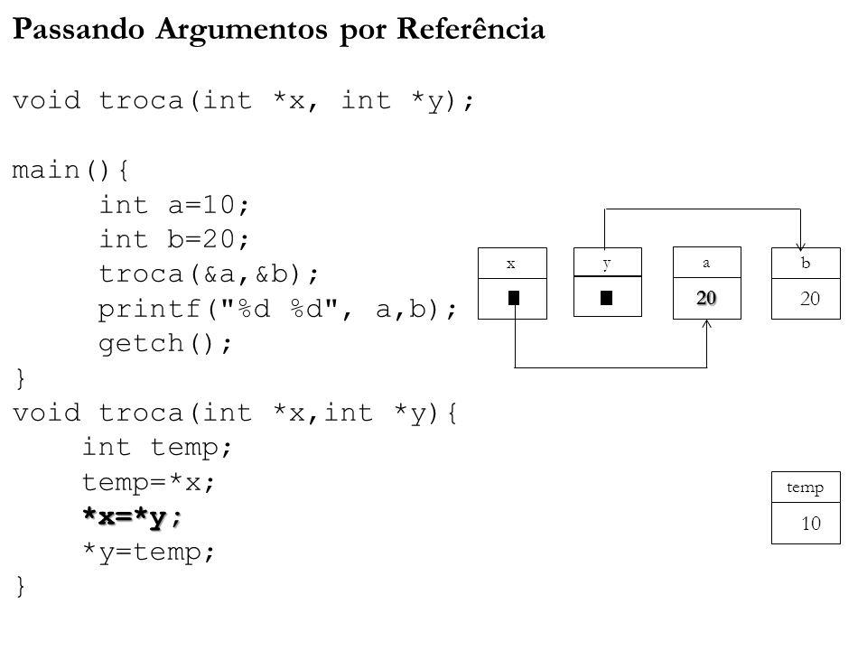 *x=*y; Passando Argumentos por Referência void troca(int *x, int *y); main(){ int a=10; int b=20; troca(&a,&b); printf( %d %d , a,b); getch(); } void troca(int *x,int *y){ int temp; temp=*x; *x=*y; *y=temp; } a y x 20 b 20 temp 10