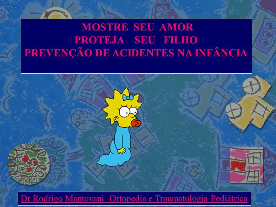 MOSTRE SEU AMOR PROTEJA SEU FILHO PREVENÇÃO DE ACIDENTES NA INFÂNCIA Dr Rodrigo Mantovani Ortopedia e Traumatologia Pediátrica