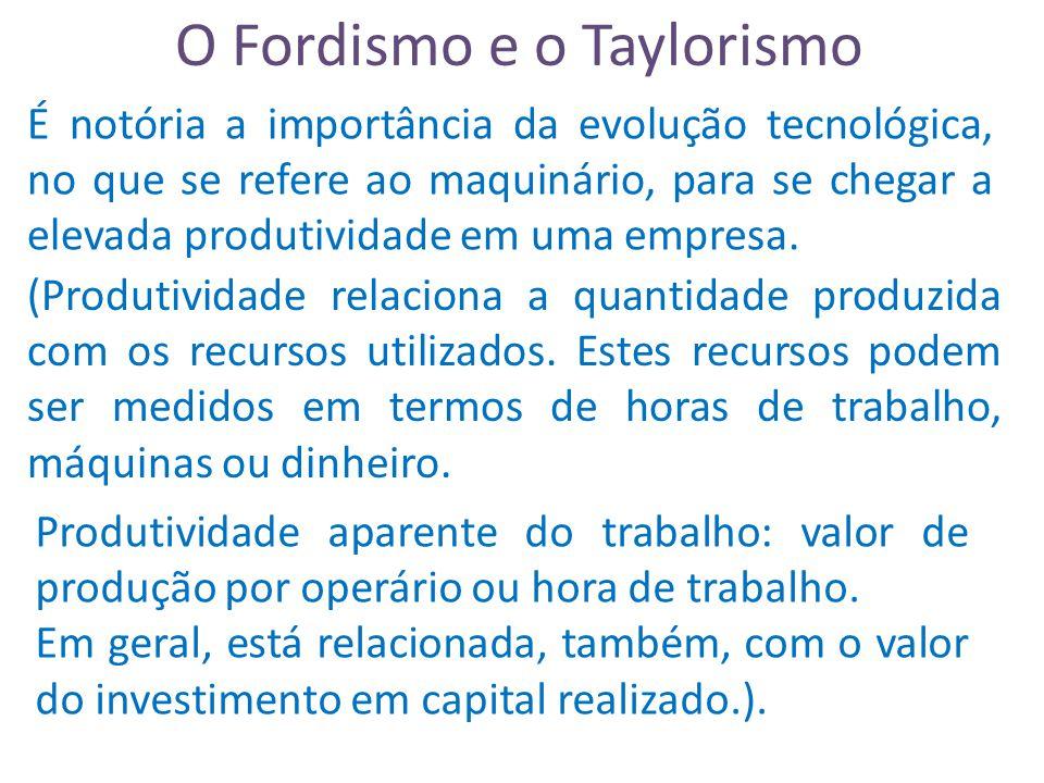 O Fordismo e o Taylorismo É notória a importância da evolução tecnológica, no que se refere ao maquinário, para se chegar a elevada produtividade em uma empresa.