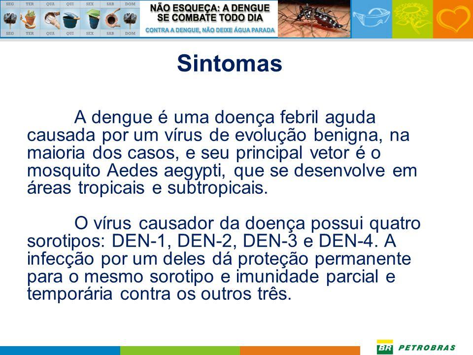 A dengue é um dos principais problemas de saúde pública no mundo. A Organização Mundial da Saúde (OMS) estima que entre 50 a 100 milhões de pessoas se