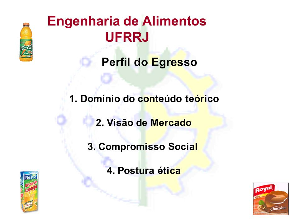 Engenharia de Alimentos UFRRJ Perfil do Egresso 1.Domínio do conteúdo teórico 2. Visão de Mercado 3. Compromisso Social 4. Postura ética