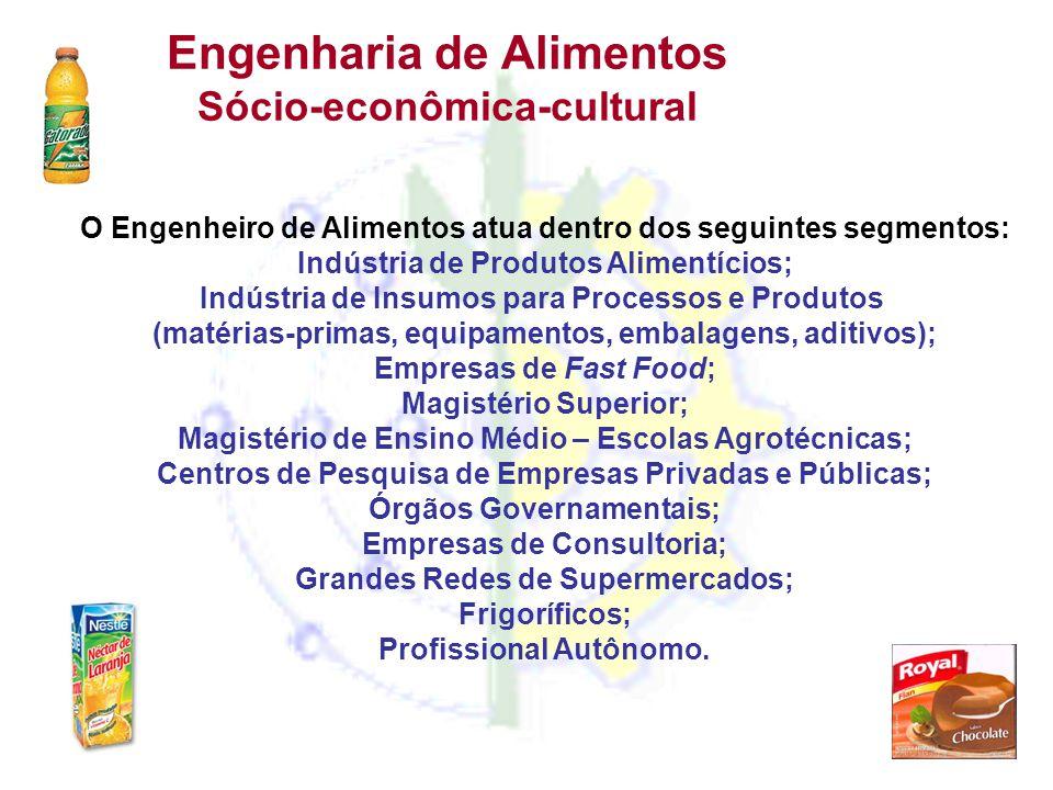 Engenharia de Alimentos Sócio-econômica-cultural O Engenheiro de Alimentos atua dentro dos seguintes segmentos: Indústria de Produtos Alimentícios; In