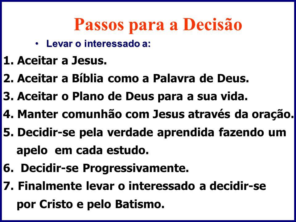 Passos para a Decisão •Levar o interessado a: 1.Aceitar a Jesus.