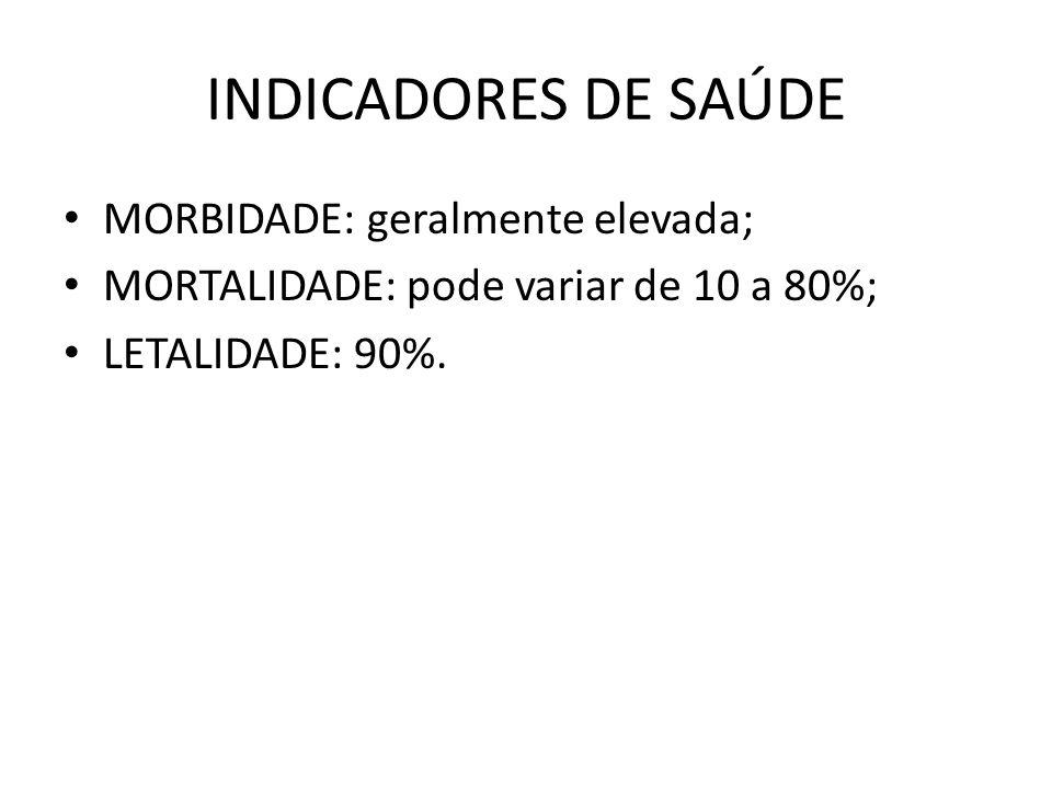 INDICADORES DE SAÚDE • MORBIDADE: geralmente elevada; • MORTALIDADE: pode variar de 10 a 80%; • LETALIDADE: 90%.