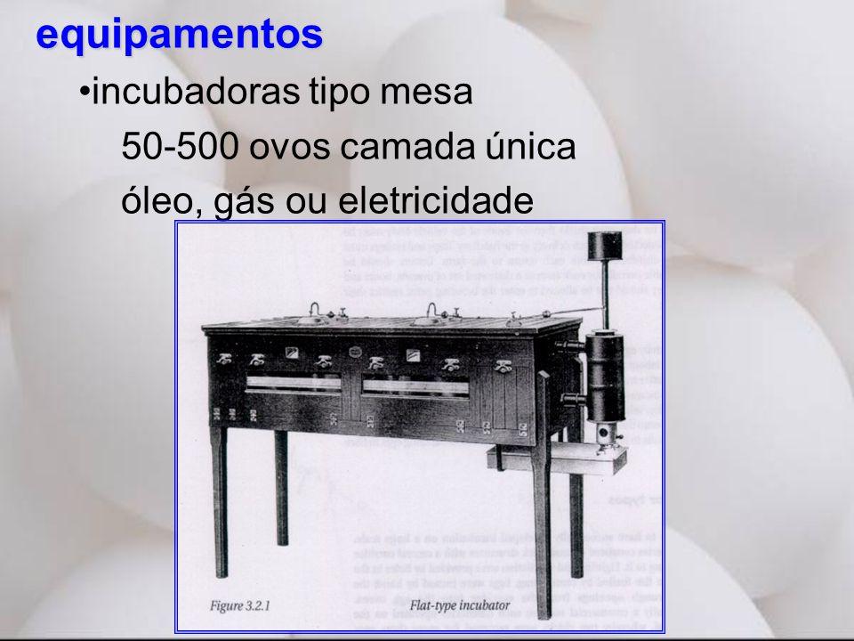 equipamentos •incubadoras tipo mesa 50-500 ovos camada única óleo, gás ou eletricidade