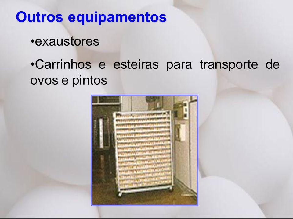 Outros equipamentos •exaustores •Carrinhos e esteiras para transporte de ovos e pintos