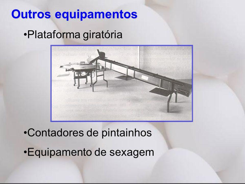 Outros equipamentos •Plataforma giratória •Contadores de pintainhos •Equipamento de sexagem