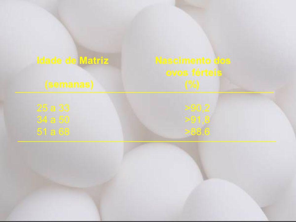 Idade de Matriz Nascimento dos ovos férteis (semanas) (%) 25 a 33 >90,2 34 a 50 >91,8 51 a 68 >88.6