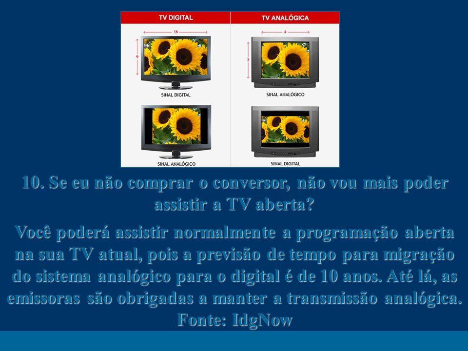 http://vidamensagem.3wr.net 10. Se eu não comprar o conversor, não vou mais poder assistir a TV aberta? Você poderá assistir normalmente a programação