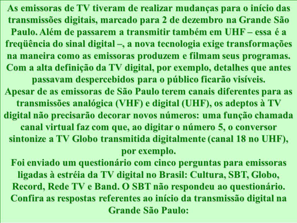 As emissoras de TV tiveram de realizar mudanças para o início das transmissões digitais, marcado para 2 de dezembro na Grande São Paulo. Além de passa