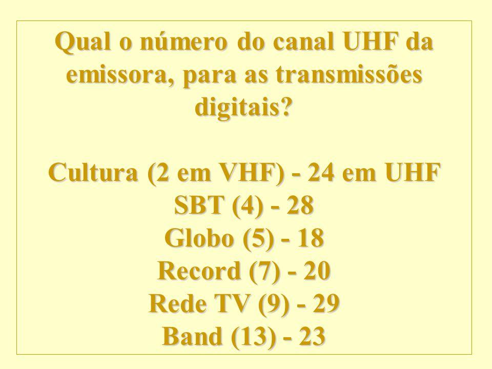 http://vidamensagem.3wr.net Qual o número do canal UHF da emissora, para as transmissões digitais? Cultura (2 em VHF) - 24 em UHF SBT (4) - 28 Globo (