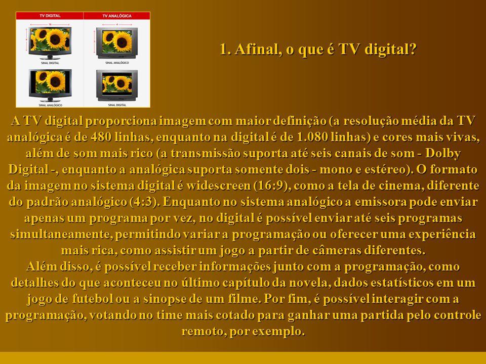 http://vidamensagem.3wr.net A TV digital proporciona imagem com maior definição (a resolução média da TV analógica é de 480 linhas, enquanto na digita