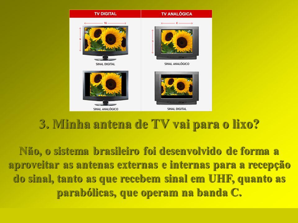 http://vidamensagem.3wr.net 3. Minha antena de TV vai para o lixo? Não, o sistema brasileiro foi desenvolvido de forma a aproveitar as antenas externa