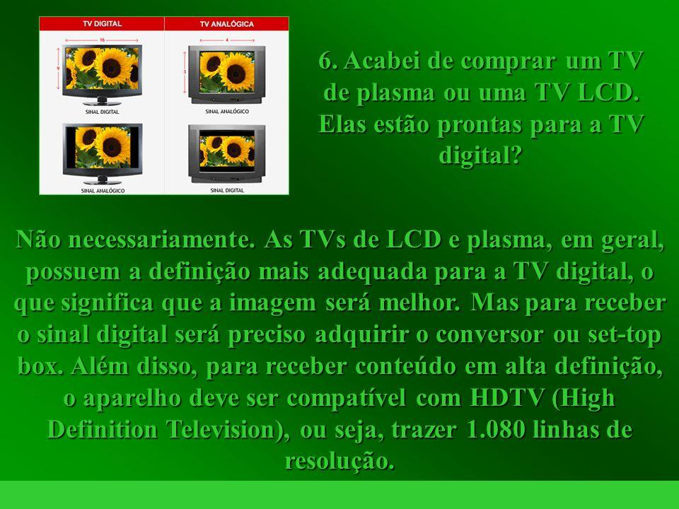 http://vidamensagem.3wr.net Não necessariamente. As TVs de LCD e plasma, em geral, possuem a definição mais adequada para a TV digital, o que signific