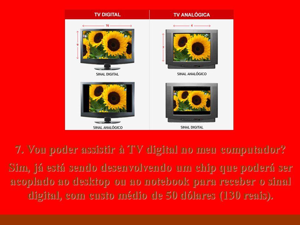 http://vidamensagem.3wr.net 7. Vou poder assistir à TV digital no meu computador? Sim, já está sendo desenvolvendo um chip que poderá ser acoplado ao