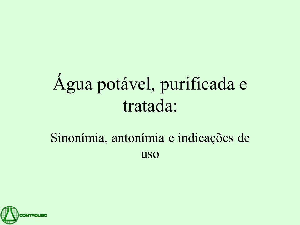 Água potável, purificada e tratada: Sinonímia, antonímia e indicações de uso