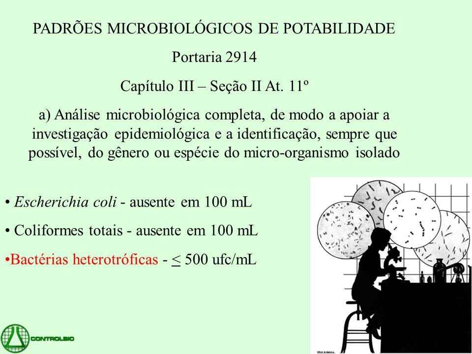 PADRÕES MICROBIOLÓGICOS DE POTABILIDADE Portaria 2914 Capítulo III – Seção II At. 11º a) Análise microbiológica completa, de modo a apoiar a investiga