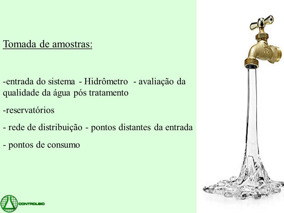 Tomada de amostras: -entrada do sistema - Hidrômetro - avaliação da qualidade da água pós tratamento -reservatórios - rede de distribuição - pontos di