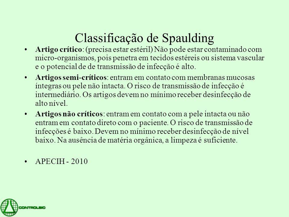 Classificação de Spaulding •Artigo crítico: (precisa estar estéril) Não pode estar contaminado com micro-organismos, pois penetra em tecidos estéreis