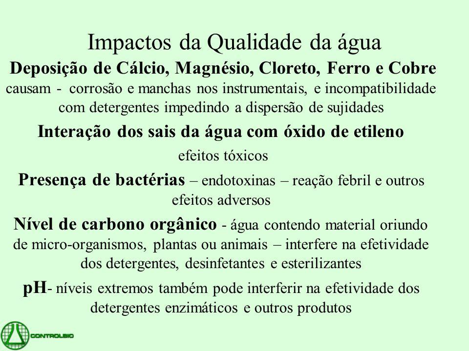 Impactos da Qualidade da água Deposição de Cálcio, Magnésio, Cloreto, Ferro e Cobre causam - corrosão e manchas nos instrumentais, e incompatibilidade