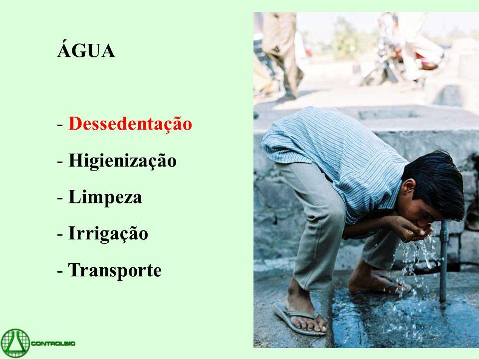 ÁGUA - Dessedentação - Higienização - Limpeza - Irrigação - Transporte