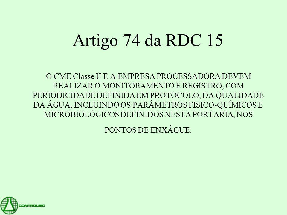 Artigo 74 da RDC 15 O CME Classe II E A EMPRESA PROCESSADORA DEVEM REALIZAR O MONITORAMENTO E REGISTRO, COM PERIODICIDADE DEFINIDA EM PROTOCOLO, DA QU