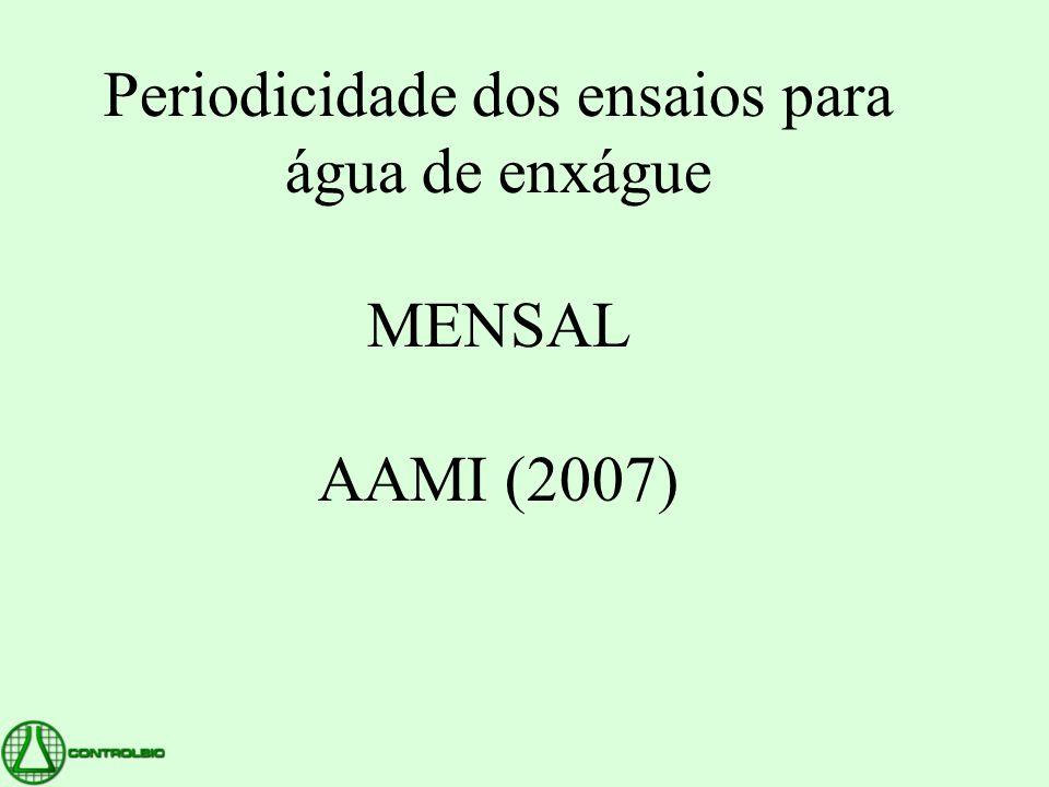 Periodicidade dos ensaios para água de enxágue MENSAL AAMI (2007)