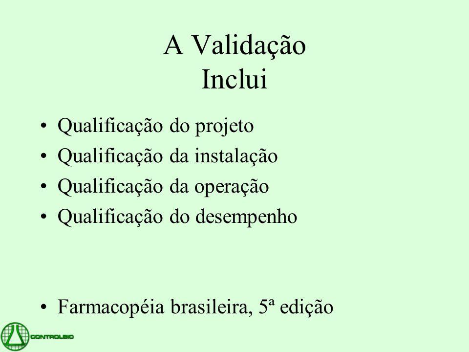 A Validação Inclui •Qualificação do projeto •Qualificação da instalação •Qualificação da operação •Qualificação do desempenho •Farmacopéia brasileira,