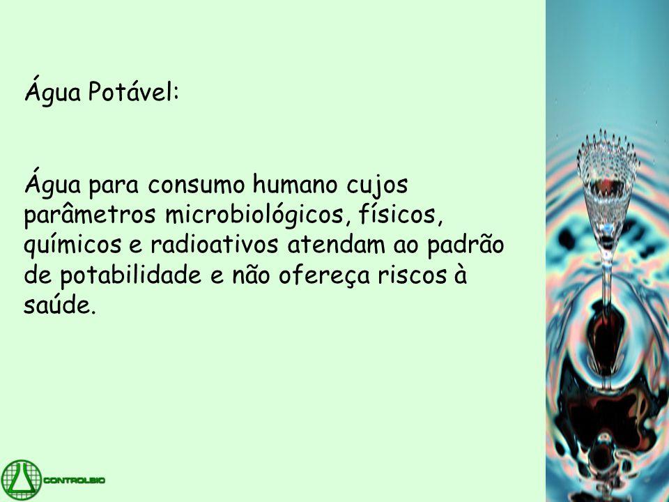 Água potável •É obtida por tratamento da água retirada de mananciais, por meio de processos adequados para atender às especificações da legislação brasileira relativa aos parâmetros físicos, químicos, microbiológicos e radioativos