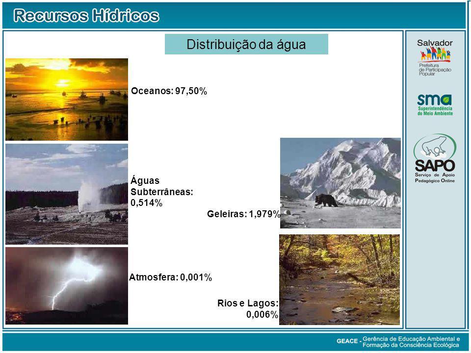 Distribuição da água Oceanos: 97,50% Geleiras: 1,979% Águas Subterrâneas: 0,514% Rios e Lagos: 0,006% Atmosfera: 0,001% Distribuição da Água no Mundo