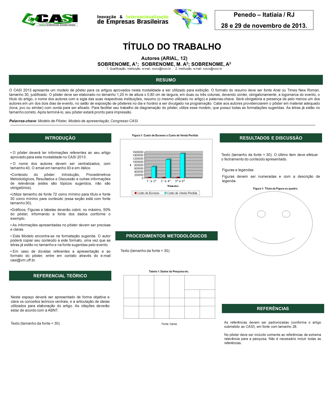 O CASI 2013 apresenta um modelo de pôster para os artigos aprovados nesta modalidade a ser utilizado para exibição.