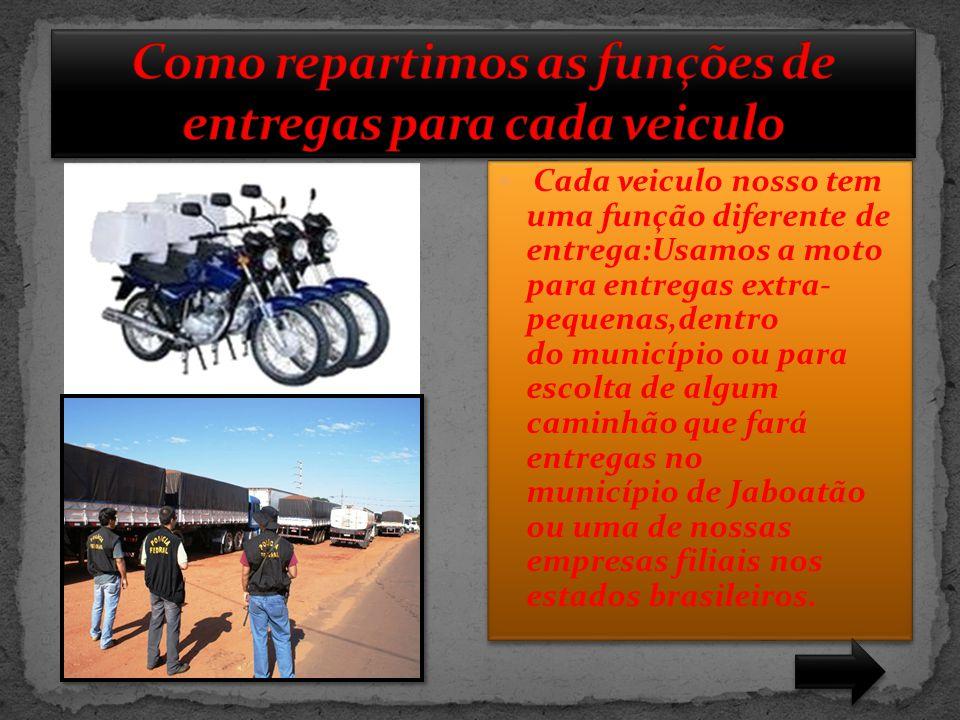  Cada veiculo nosso tem uma função diferente de entrega:Usamos a moto para entregas extra- pequenas,dentro do município ou para escolta de algum cami