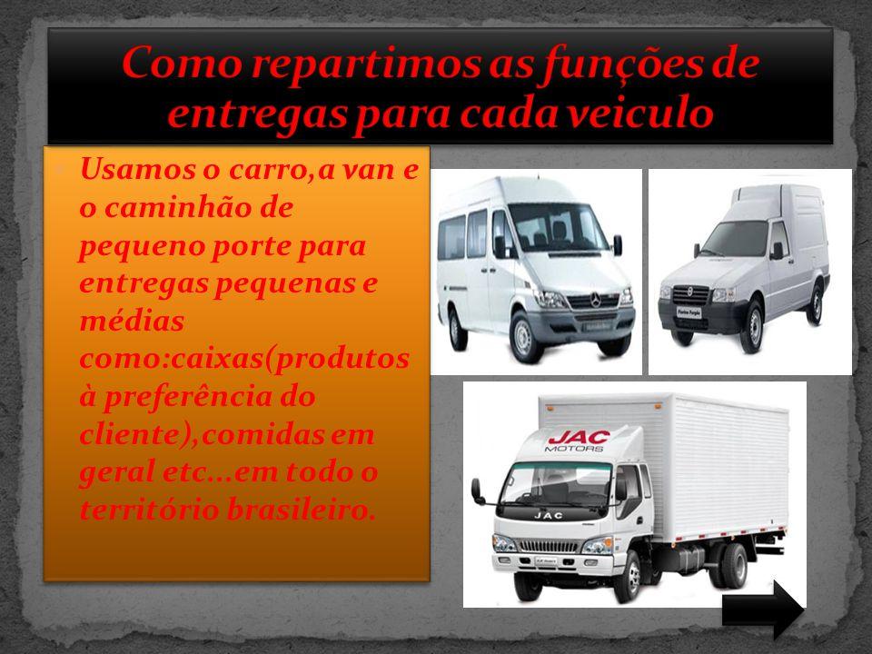  Usamos o caminhão baú para entregas maiores como:comida em geral,produtos higiênicos em geral etc...(portanto que esteja dentro do nosso regulamento de transportes de cargas) em todo o território brasileiro.