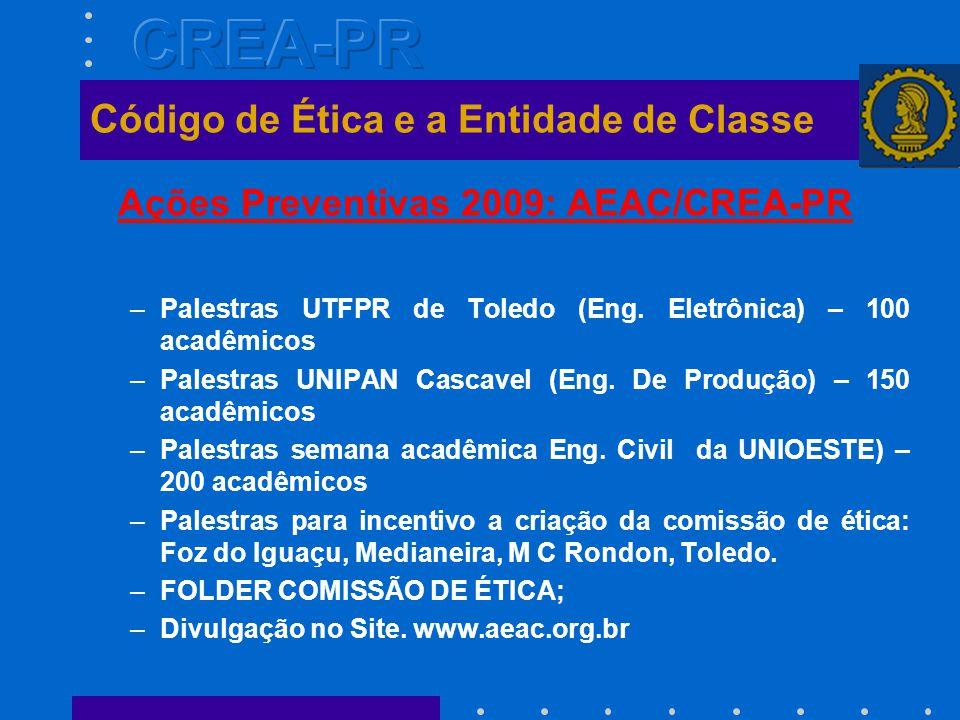 Ações Preventivas 2009: AEAC/CREA-PR –Palestras UTFPR de Toledo (Eng.