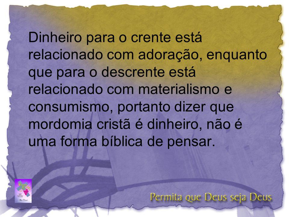 Mordomia cristã é um assunto espiritual, é um estilo de vida de quem aceita diariamente o Senhorio de Cristo.