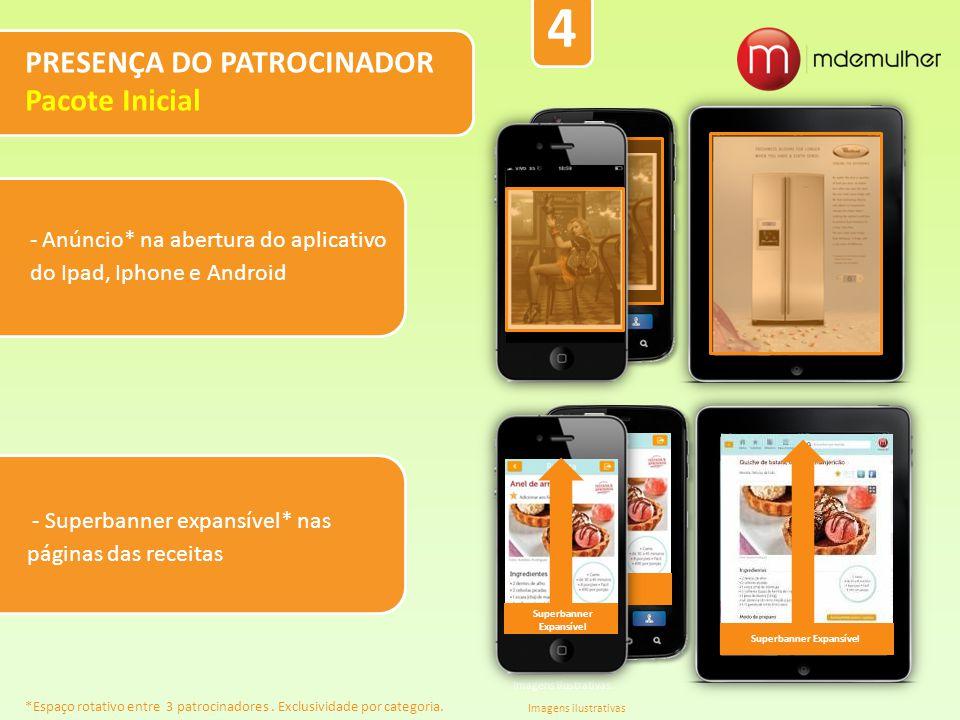 - Anúncio* na abertura do aplicativo do Ipad, Iphone e Android PRESENÇA DO PATROCINADOR Pacote Inicial Imagens ilustrativas. Oferecimento Imagens ilus