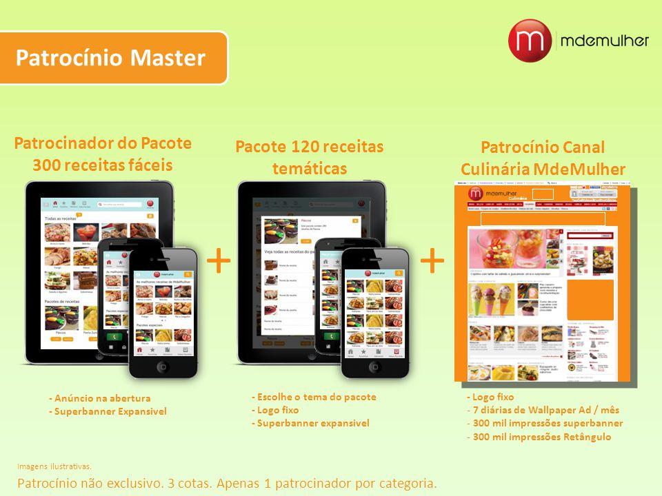 Patrocínio Master Imagens ilustrativas. Patrocinador do Pacote 300 receitas fáceis + Pacote 120 receitas temáticas + Patrocínio Canal Culinária MdeMul