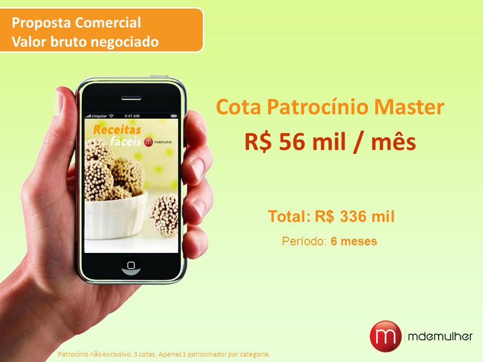 Cota Patrocínio Master R$ 56 mil / mês Proposta Comercial Valor bruto negociado Patrocínio não exclusivo. 3 cotas. Apenas 1 patrocinador por categoria