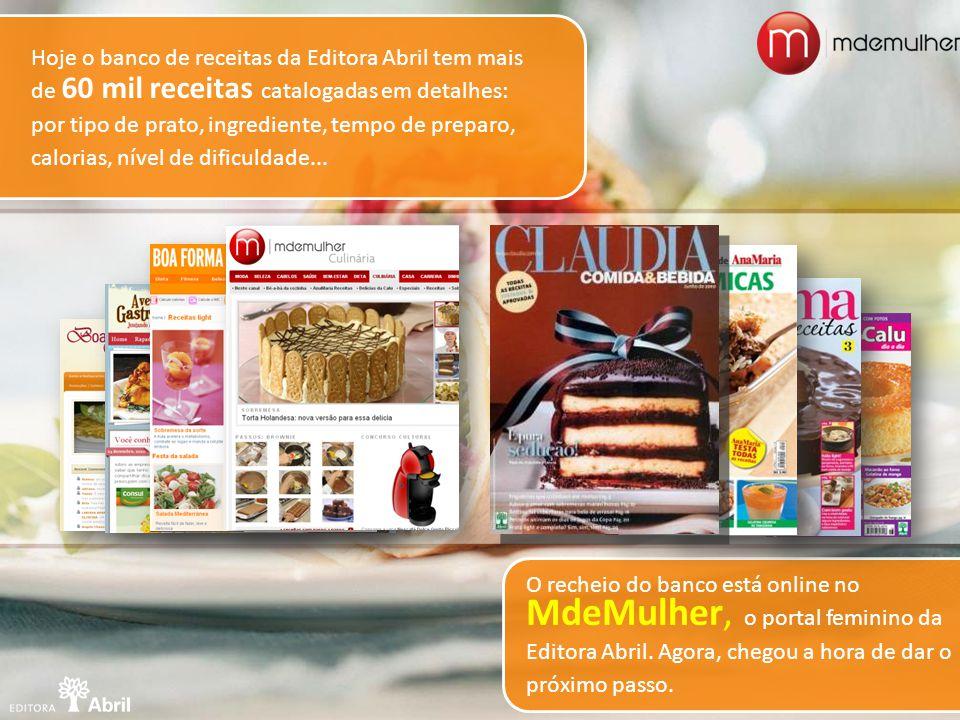 O recheio do banco está online no MdeMulher, o portal feminino da Editora Abril. Agora, chegou a hora de dar o próximo passo. Hoje o banco de receitas